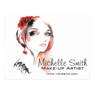 Watercolor jewellery make up artist branding postcard