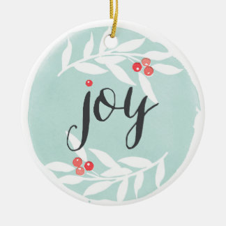 Watercolor Joyful Leaves Berries Holiday Ornament