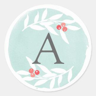 Watercolor Joyful Leaves Monogram Sticker