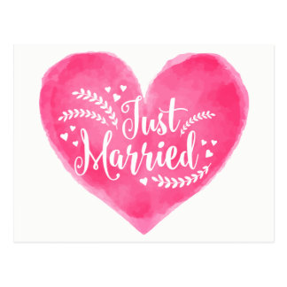 Watercolor Just Married Red Pink Wedding Heart Postcard