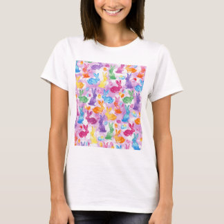 Watercolor Kaleidoscope Easter Bunny Bright Happy T-Shirt