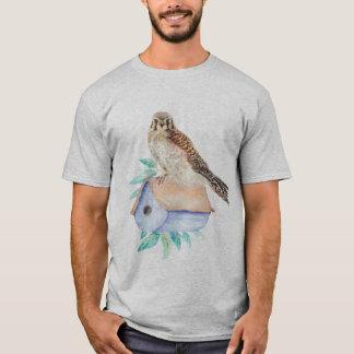 Watercolor Kestrel Sparrow Hawk Guarding Birdhouse T-Shirt