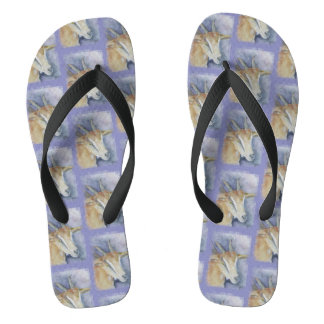 Watercolor Kid Goat Flip Flops