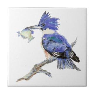 Watercolor Kingfisher Bird Wildlife Tile