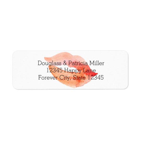 Watercolor Kiss Return Address Label