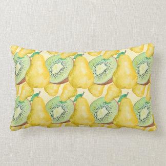 Watercolor Kiwi and Pear Lumbar Pillow