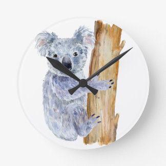 Watercolor koala illustration round clock