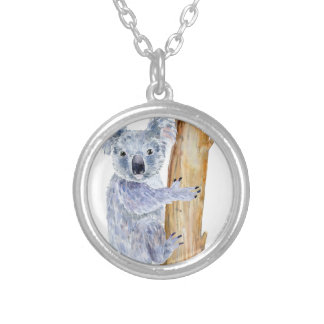 Watercolor koala illustration silver plated necklace