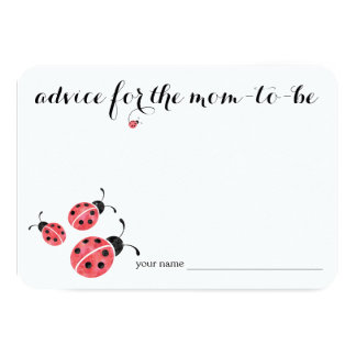 Watercolor Ladybug Advice for Mom Baby Shower Card