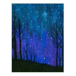 Watercolor Landscape Art Night Sky Stars Universe Postcard