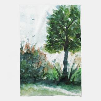 Watercolor Landscape Art Tree Nature Seasons Kitchen Towel