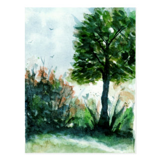 Watercolor Landscape Art Tree Nature Seasons Postcard
