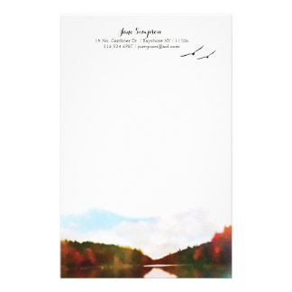 watercolor landscape personal stationary stationery