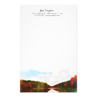 watercolor landscape personal stationary stationery design