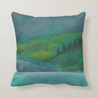 Watercolor landscape throw pillow