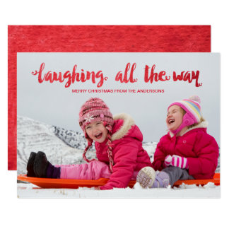 Watercolor Laughing All the Way Holiday Photo Card