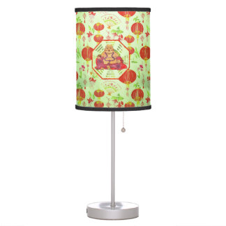 Watercolor Laughing Happy Buddha on Bagua Table Lamp