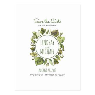 Watercolor Laurel - Greenery Wreath Save the Date Postcard