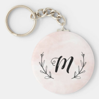 watercolor laurel rose monogram keychain