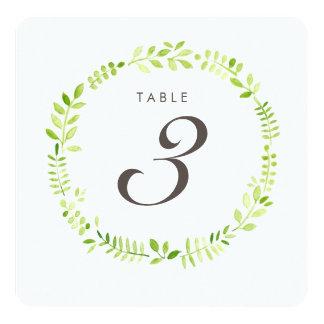 Watercolor Laurel Table Number Square card