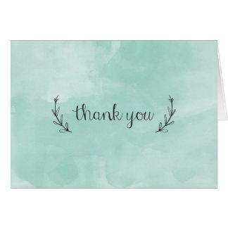 watercolor laurel thank you card