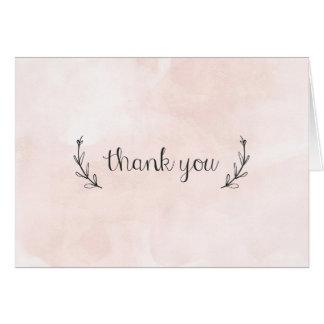 watercolor laurel thank you pink card