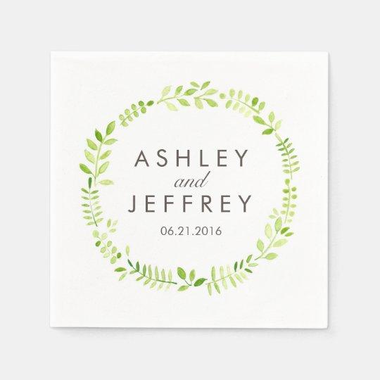 Watercolor Laurel Wedding Paper Napkin