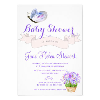Watercolor lavender butterfly rustic baby shower card