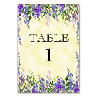 Watercolor Lavender Floral Yellow Place Card