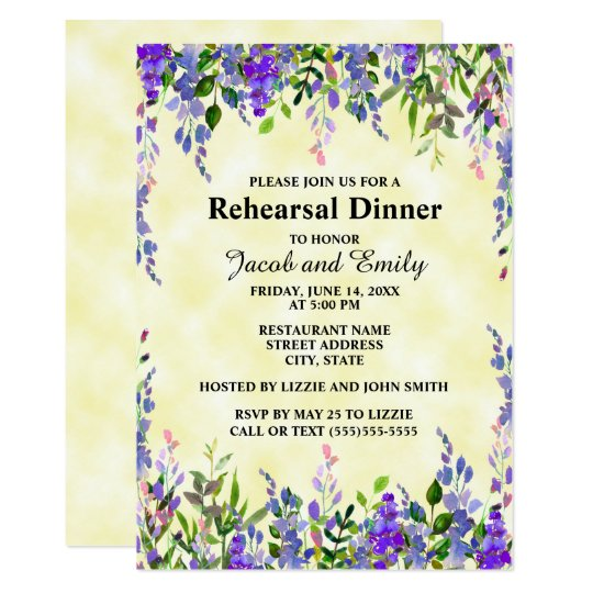 Watercolor Lavender Floral YellowWedding Rehearsal Card