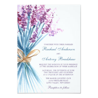 "Watercolor Lavender Flower Wedding 5"" X 7"" Invitation Card"