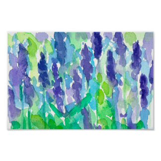 Watercolor Lavender Flowers Painting Poster