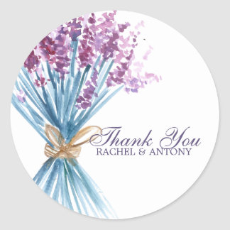 Watercolor Lavender Flowers Round Sticker