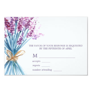 "Watercolor Lavender Wedding Response Cards 3.5"" X 5"" Invitation Card"