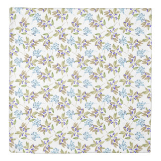 Watercolor Leaf and Floral Pattern on White Duvet Cover