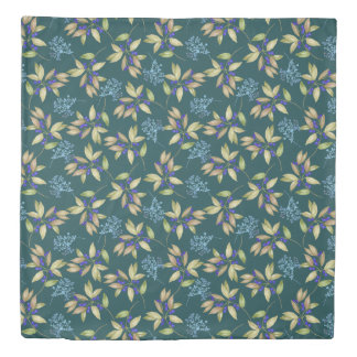 Watercolor Leaf and Flower Pattern on Teal Duvet Cover