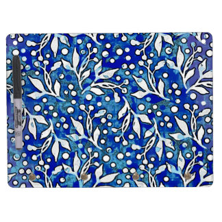 Watercolor Leaf Pattern Blue Dry Erase Board With Keychain Holder