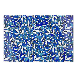 Watercolor Leaf Pattern Blue Photo Print