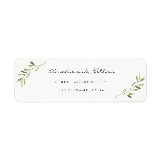 Watercolor Leaf Return Address Label