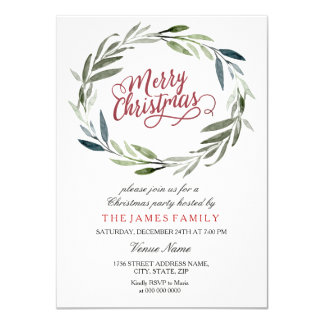 Watercolor Leaf Wreath Christmas Party Invitation