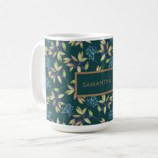 Watercolor Leaves and Blossoms Pattern on Teal Coffee Mug