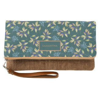 Watercolor Leaves and Flowers Pattern on Teal Clutch