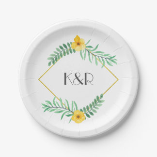 Watercolor Leaves and yellow flower wedding Paper Plate