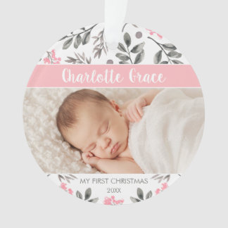 Watercolor Leaves Baby Girl First Christmas Photo Ornament