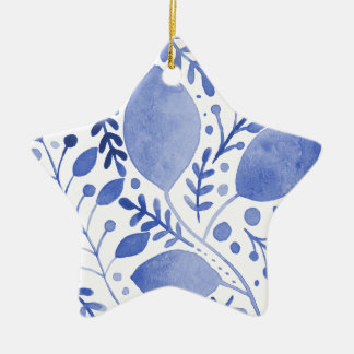 Watercolor leaves - blue ceramic ornament