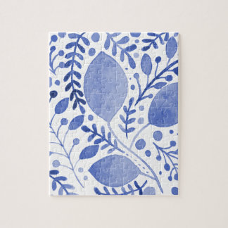 Watercolor leaves - blue jigsaw puzzle