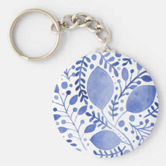 Watercolor leaves - blue keychain