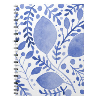Watercolor leaves - blue notebooks