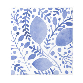 Watercolor leaves - blue notepad