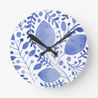 Watercolor leaves - blue round clock